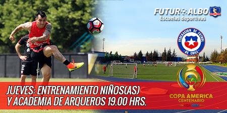 Por Chile v/s Colombia, entrenamientos este jueves 23/06 a las 19:00 hrs., en el E. Mayor.