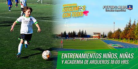 Miércoles: Entrenamientos a las 18:00 hrs. por partido Colo-Colo v/s U. Católica
